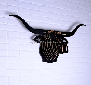 Nordic home decorations 3D DIY wood carving bull head buffalo OX head wall hanging longhorn home store cafe ornament wall art