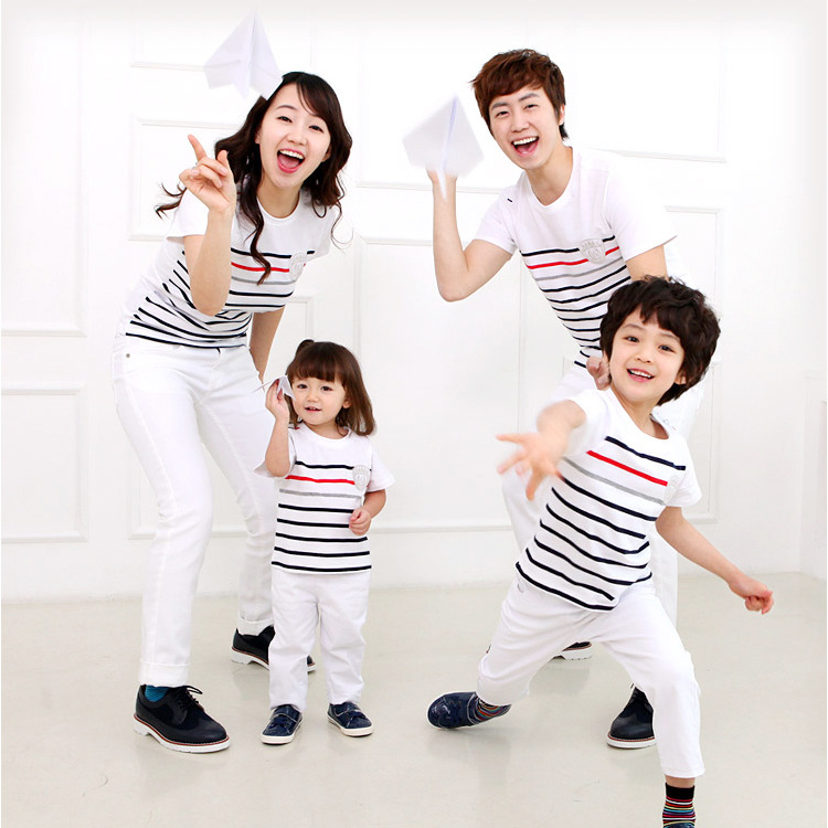 2016 children summer T shirt Family Matching Outfits Couples clothing Paternity Beach Dad Son mother daughter