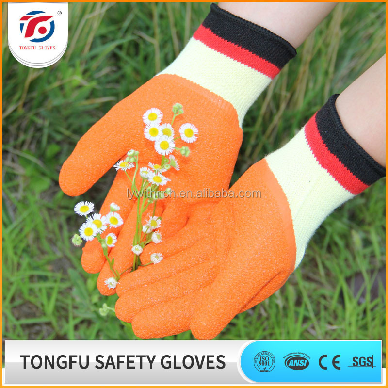 Cheap Knitted Liner wrinkle latex work gloves/ heavy duty industrial rubber gloves