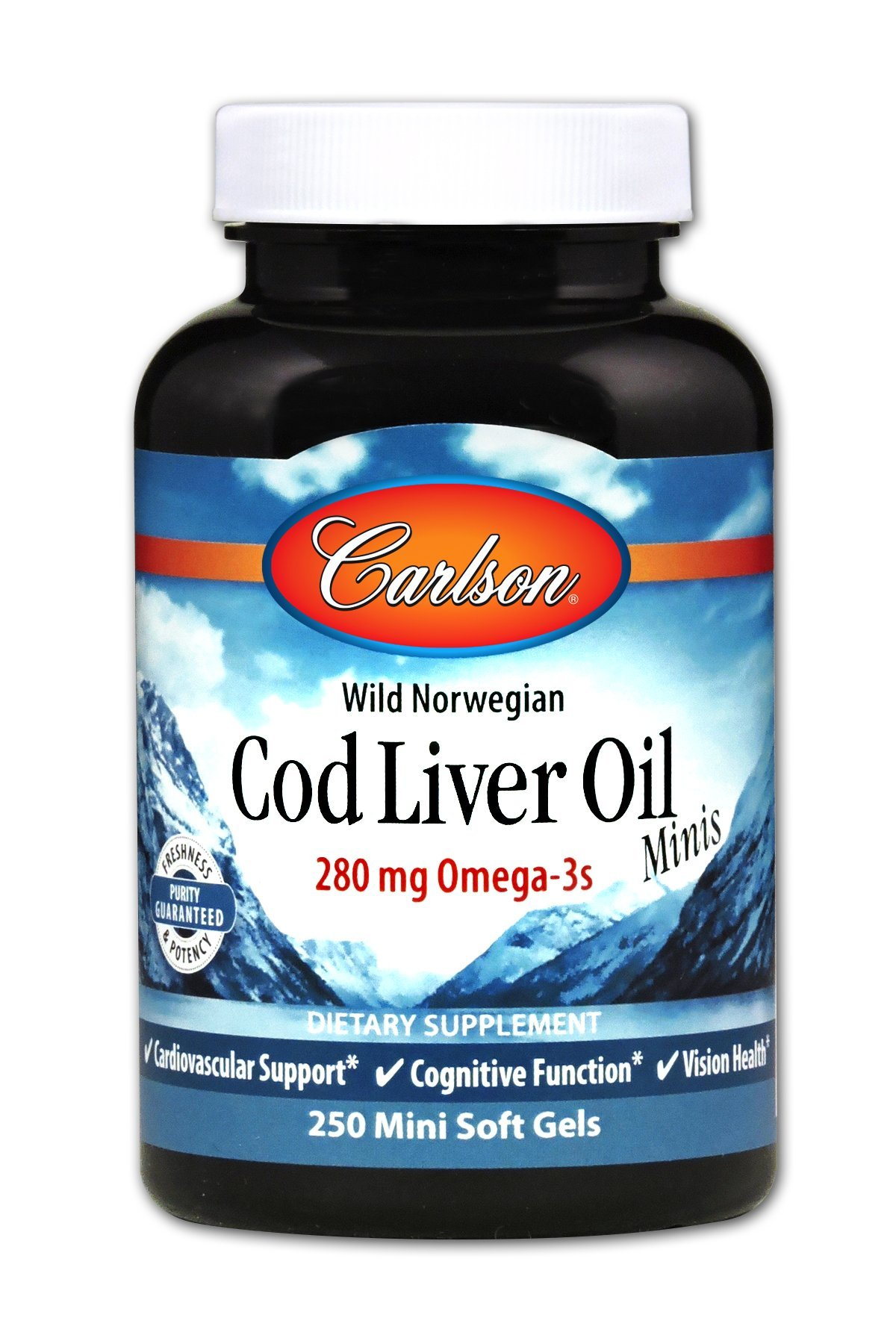 Carlson Norwegian Cod Liver Oil, 280 mg Omega-3s, 250 Soft Gels