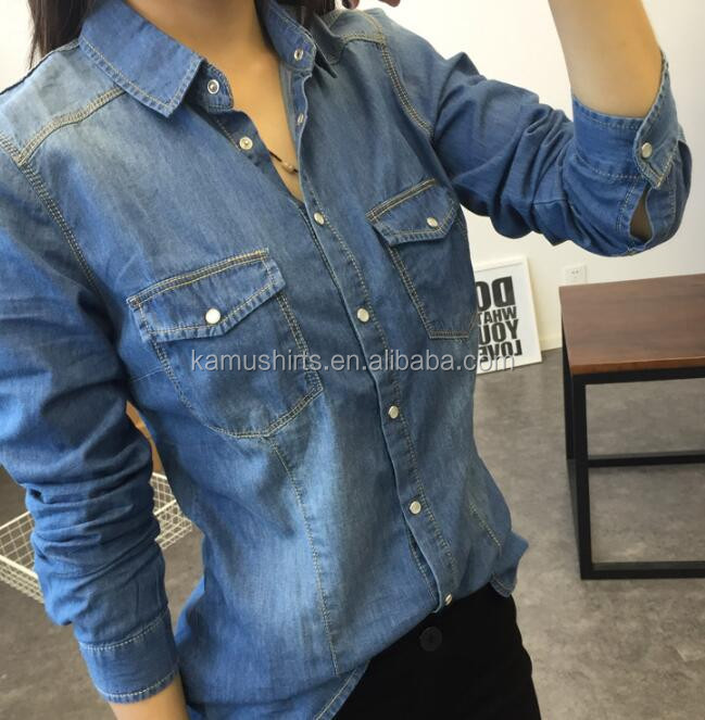 Women s Long Sleeve Double Pocket Slim-fit Jean Denim Shirt - Buy ... 8811c4c77