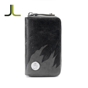 high quality small size fashion carbon fiber slim human leather wallet