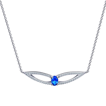 Factory Direct Sales 925 Sterling Silver Jewelry Blue Cubic Zircon Wing Necklace