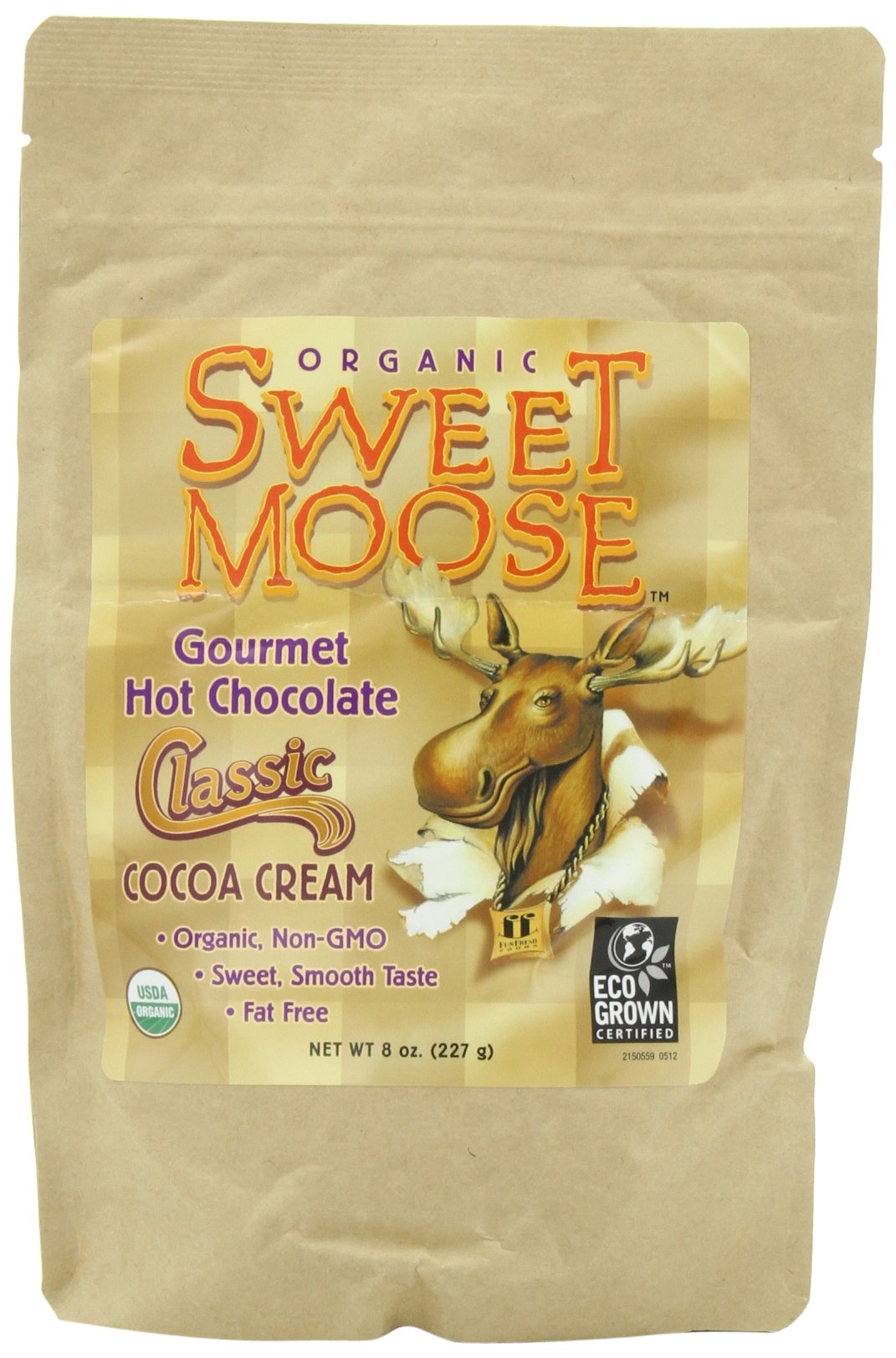 Funfresh Foods, Sweet Moose, Organic, Gourmet Hot Chocolate, Classic Cocoa Cream, 8 Ounce (Pack of 2)
