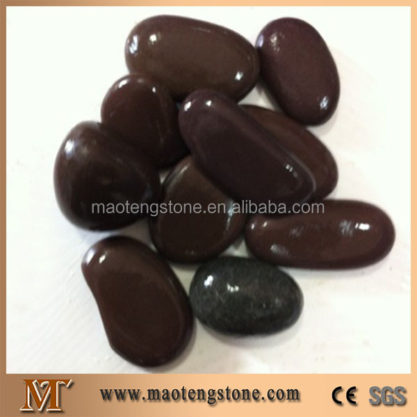 Landscaping Garden Decoration Polishing Dark Red Brown Pebble Stones