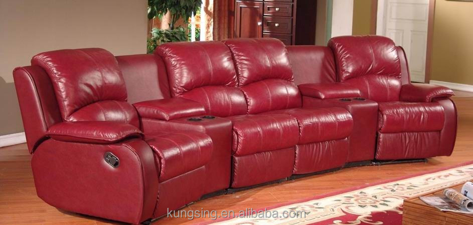 Lazy Boy Red Leather Home Theater Recliner Sofa