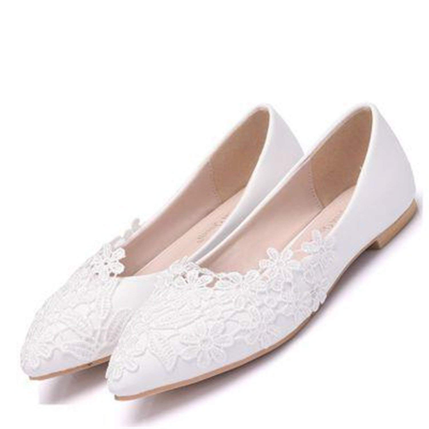 287d78c64 Get Quotations · spyman Ballet Flats White Lace Wedding Shoes Flat Heel  Casual Shoes Pointed Toe Women Wedding Princess