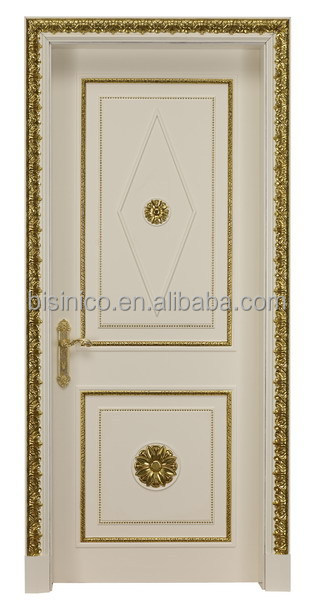 Noble Palace Style White Wooden Door With Gold Leaf