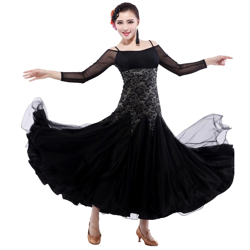 Free Shipping Elegant Lace+Mesh Romantic Long Dress for Women Standard Ballroom Competition,Tango/Fox-trot Practice Dance wear