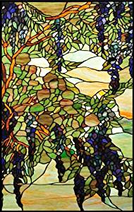 Blue & Purple Wisteria with Green Leaves -Etched Vinyl Stained Glass Film, Static Cling Window Decal
