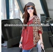 D61188A 2014 SPRING NEW LEOPARD LADIES LONG-SLEEVED T-SHIT PRIMER SHIRT