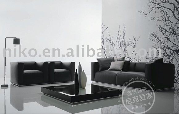 Moderno negro tela 3   2   1 sofá juego de muebles sofás para la ...