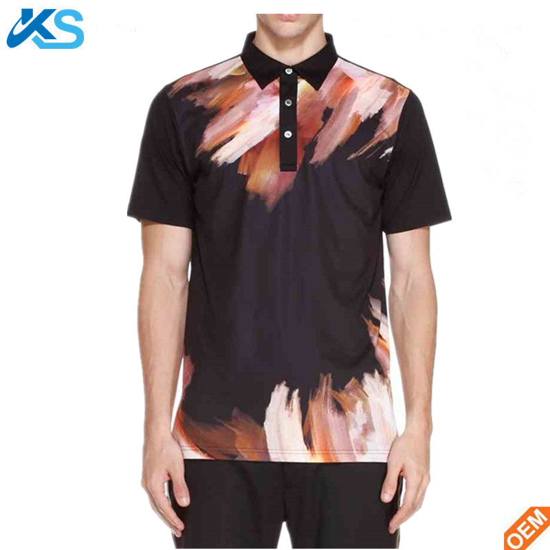 New design sublimated short sleeve black 100 polyester polo shirt men
