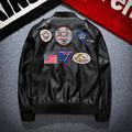 Korean Style Fashion Men s Popular Badge Patch Locomotive PU Leather Jacket Trend Coat