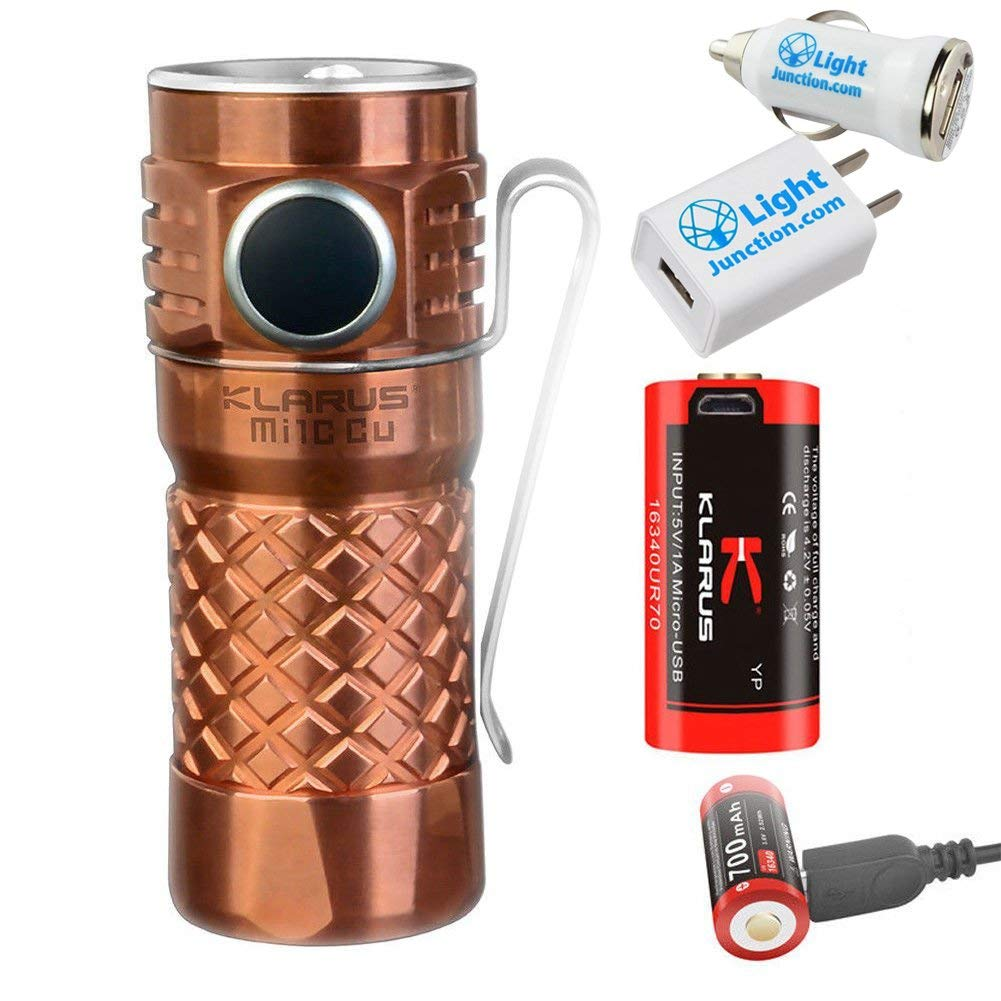 Klarus Mi1C 600LM CREE XP-L V3 LED Flashlight Adjustable Torch with 16340 Battery PLUS 1 Lightjunction USB Car Adapter and 1 Lightjunction USB Wall Adapter - Copper