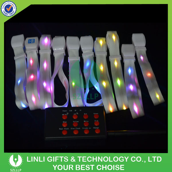 Wedding And Party Favor Nylon Remote Control Led Wristband ...