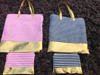 Women Summer Striped Tote Set With Gold in Nvay and Pink