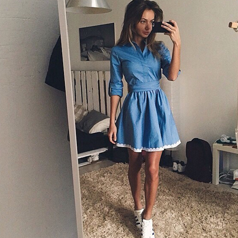 b81ef3c451 2017 Stylish women demin dress hot sale jeans dress for ladies autumn  fashion party dress