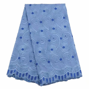 Blue Korean lace handcut embroidery french lace fabric high quality swiss voile cotton lace