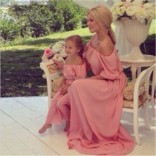 2016 Mother Daughter Matching Evening Dress Chiffon Women off shoulder Prom Party Gown New wedding dress