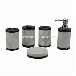 5pcs Popular Natural Marble Resin Bath Accessory Bathroom Accessories Set with Soap Dispenser
