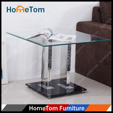 Cheap Square Mirror Fish Tank Coffee Table Hot Sale Office coffee Table with Black Tempered Glass Base