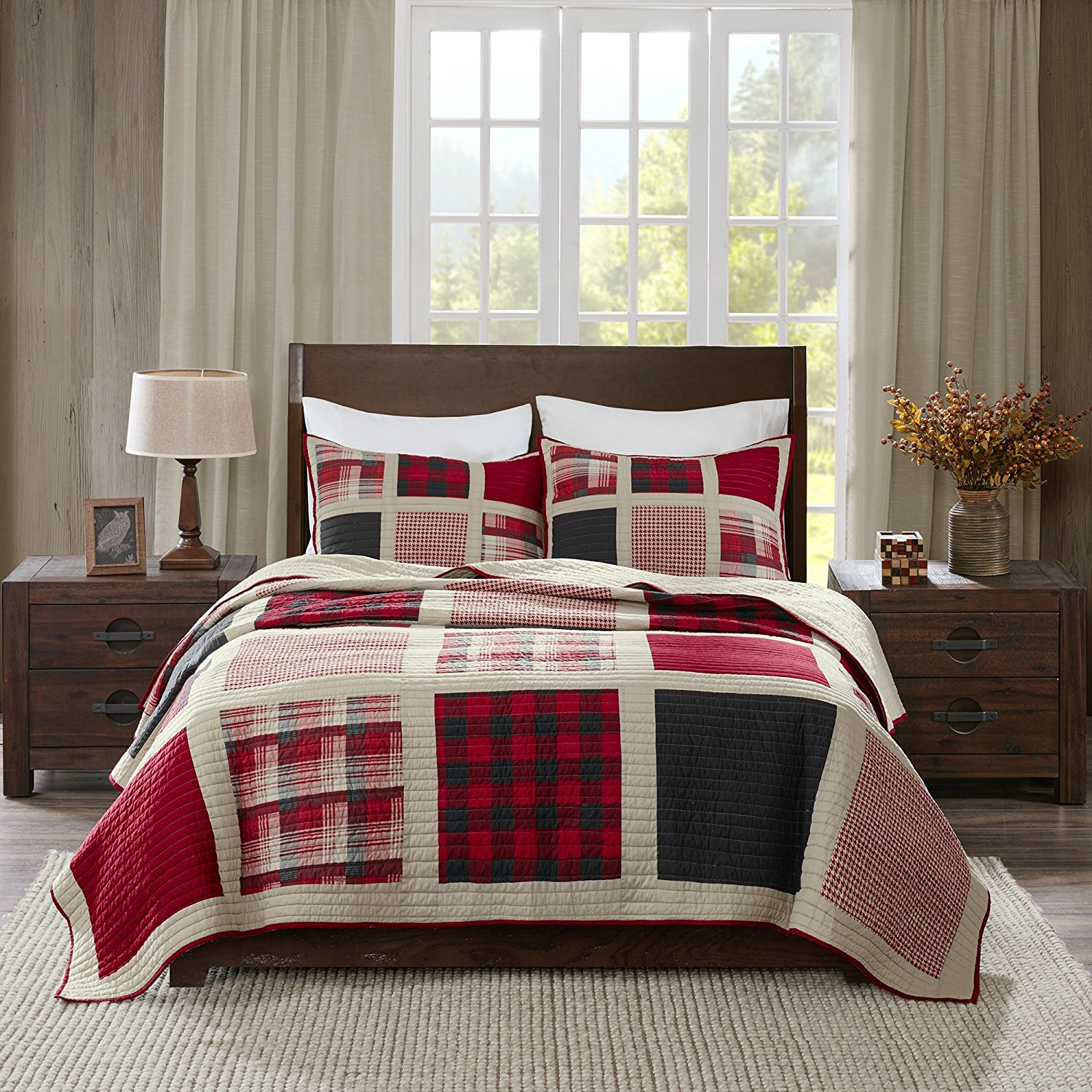D&H 3 Piece Black Tan Red Plaid Quilt King/Cal King Set, Cabin Themed Bedding Tartan Checked Patern Checkered Lodge Southwest Western Colors Lumberjack Square Patch, Cotton