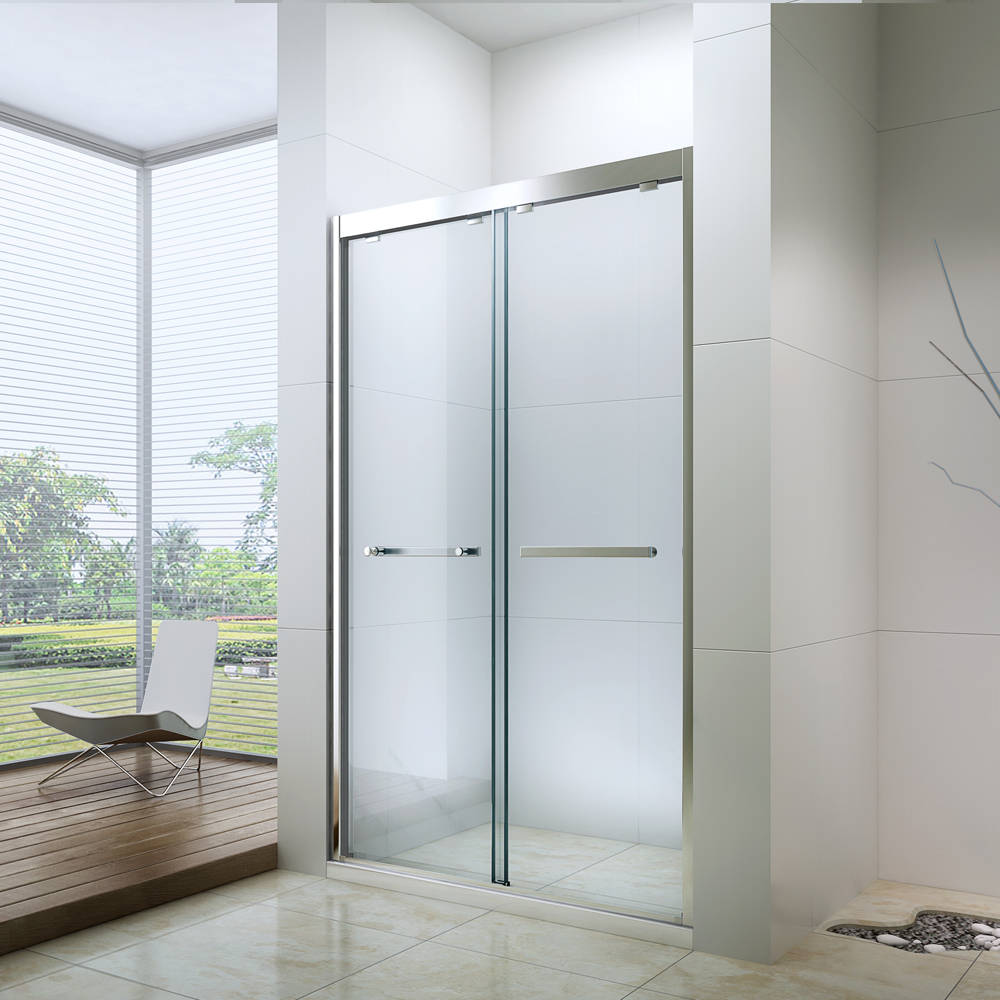 China Hinged Fully Frameless Shower Door With 304# Stainless Steel Handle