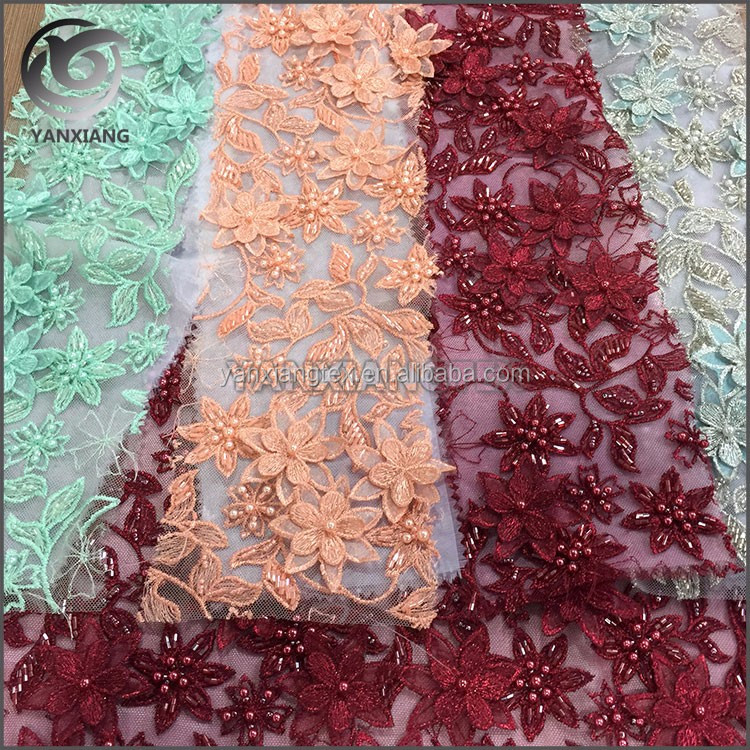 High quality 3D applique handmade embroidered beaded fabric