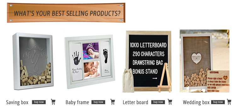 new idea 2018 wedding favor Wood Drop Top Frame Wedding Guest Book Box for wedding decor