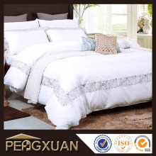 Wholesale white custom logo embroidered hotel bedding set/duvet cover set/bed sheet 100% cotton polyester