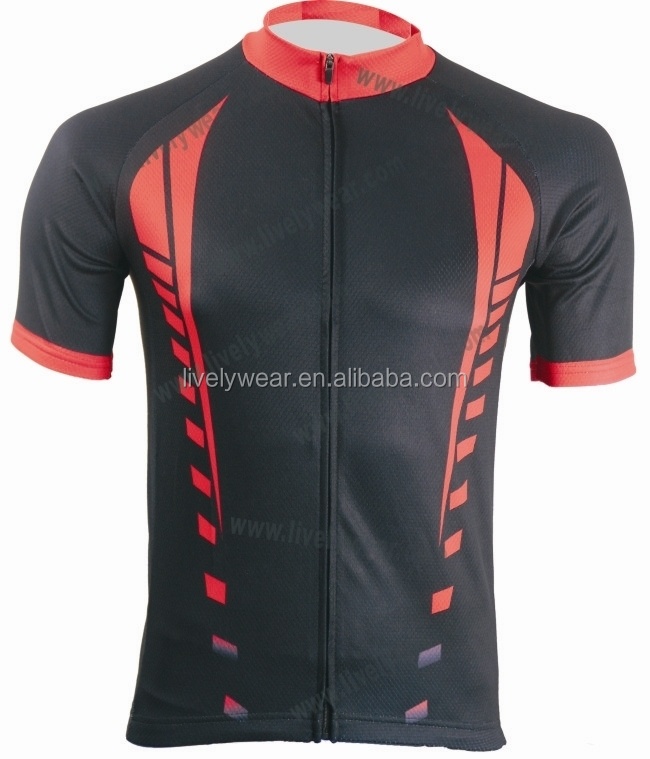 Livelywear--2016 Sublimation Top Quality Cycling top, combine different fabrics, with reflective strips