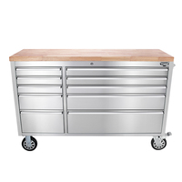 Heavy duty 55inch Stainless Steel Tool chest Roll Cabinet Work bench with wood top