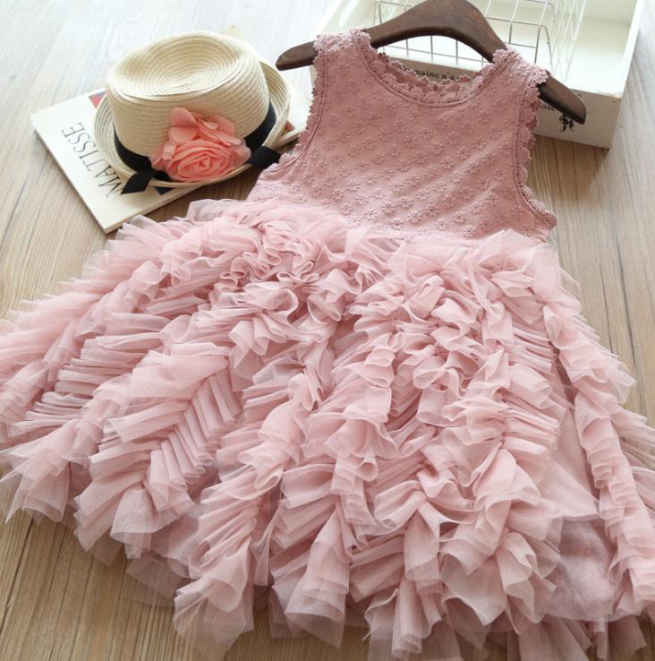 थोक बेबी लड़कियों के लिए ड्रेस पुष्प फीता सफेद बिना आस्तीन Tulle पार्टी राजकुमारी ड्रेस
