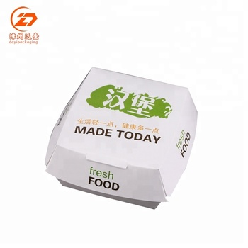 Hot sale custom printed wholesale burger color packaging box white