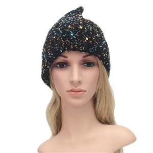 Women Knitting Hat Pointed Braid Bonnet Mix Color Crochet Wool Hats Winter Accessories