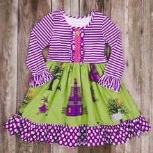 High quality fall winter baby girls boutique Halloween dress clothes childrens polka dots ruffle dresses