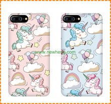 Custom colorful printing water transfer unicorn pattern hard phone case for iphone 7