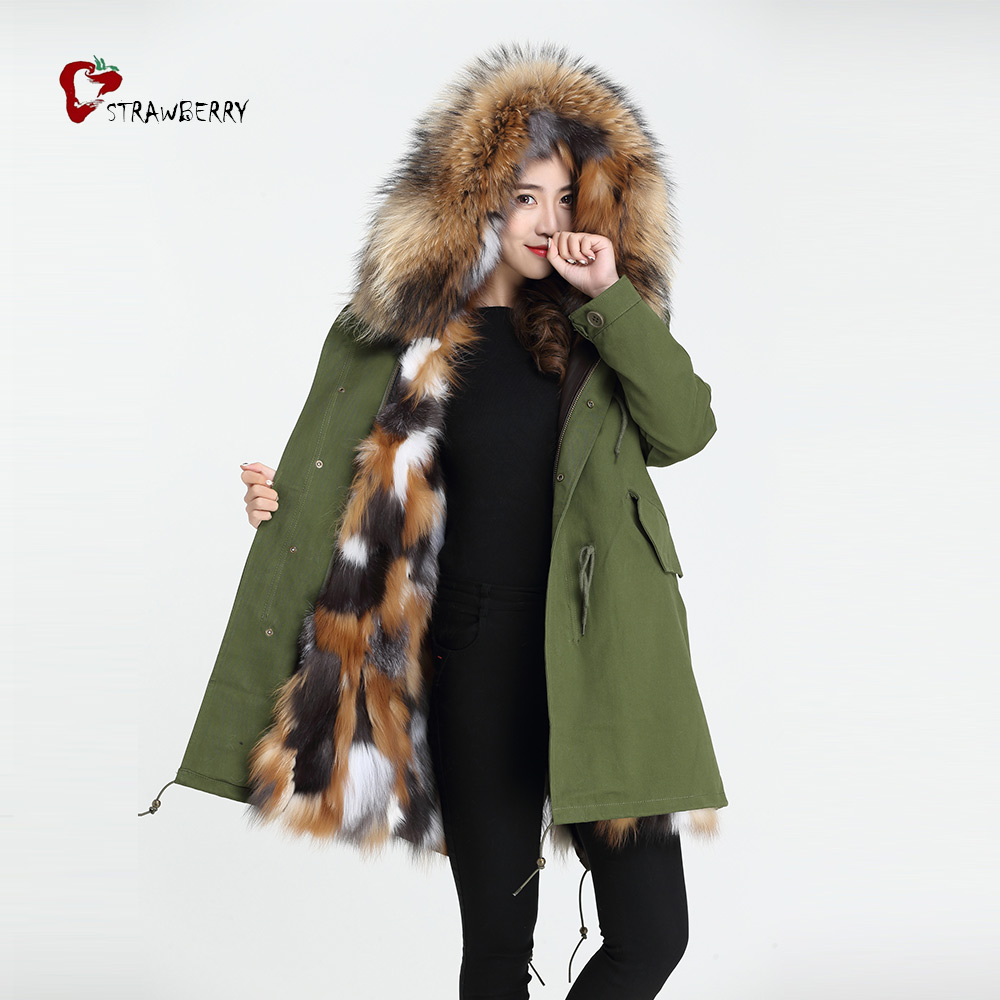 Jackets & Coats Women's Clothing Cx-g-p-12k 2018 Winter Warm Street Girl Raccoon Fur Collar Female Long Fox Lined Fur Parkas Jackets Coat Mujer Discounts Price