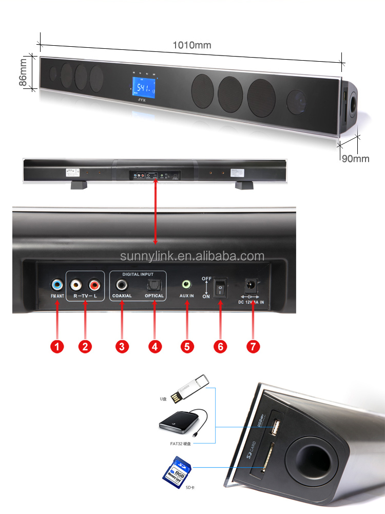 2 1 Channels Bluetooth Sound Bar Home Theater System With Subwoofer Usb Sd Fm
