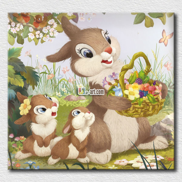 Love children bedroom decoration rabbit painting art