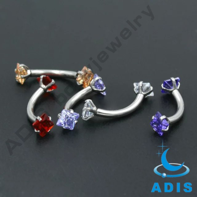 316L Steel Facing Gem Eyebrow Ring Customized Piercing Jewelry Wholesale