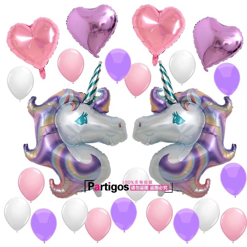 Unicorn Balloons Party Supplies Set,Unicorn Foil Balloons Marble Latex Balloons Tissue Tassel Garland for Birthday Party Unicorn
