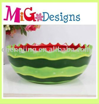 Green Large Decor Glazed Ceramic Watermelon Bowls - Buy Watermelon ...