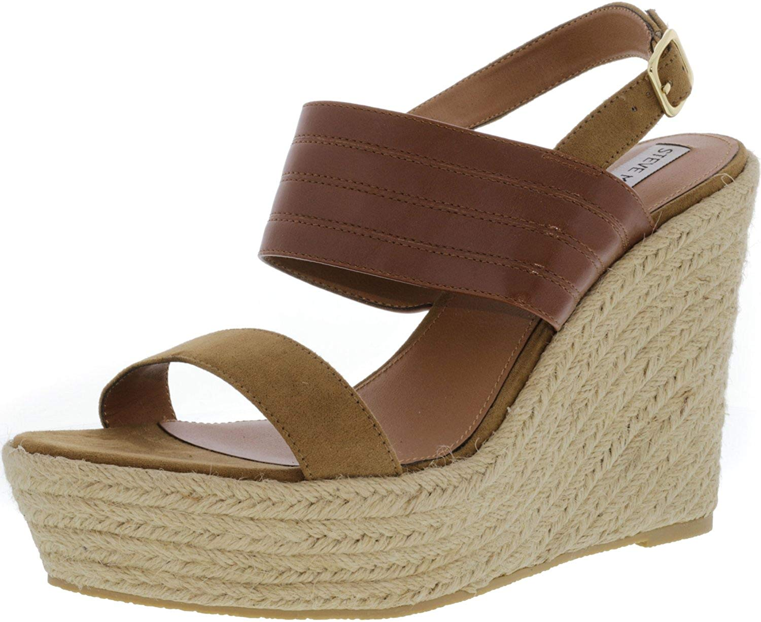 b66cc440e34e Get Quotations · Steve Madden Womens Prima Open Toe Wedge Sandals