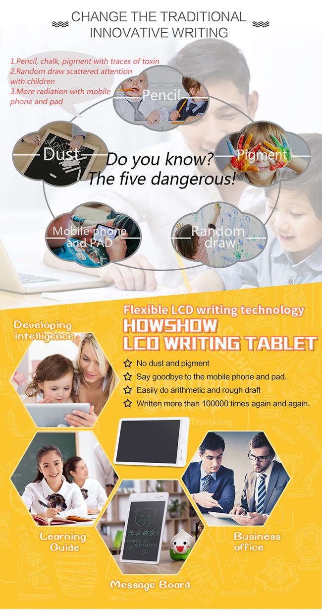 Düşük Tüketim Elektronik Silinebilir E Mürekkep LCD yazma tableti 12