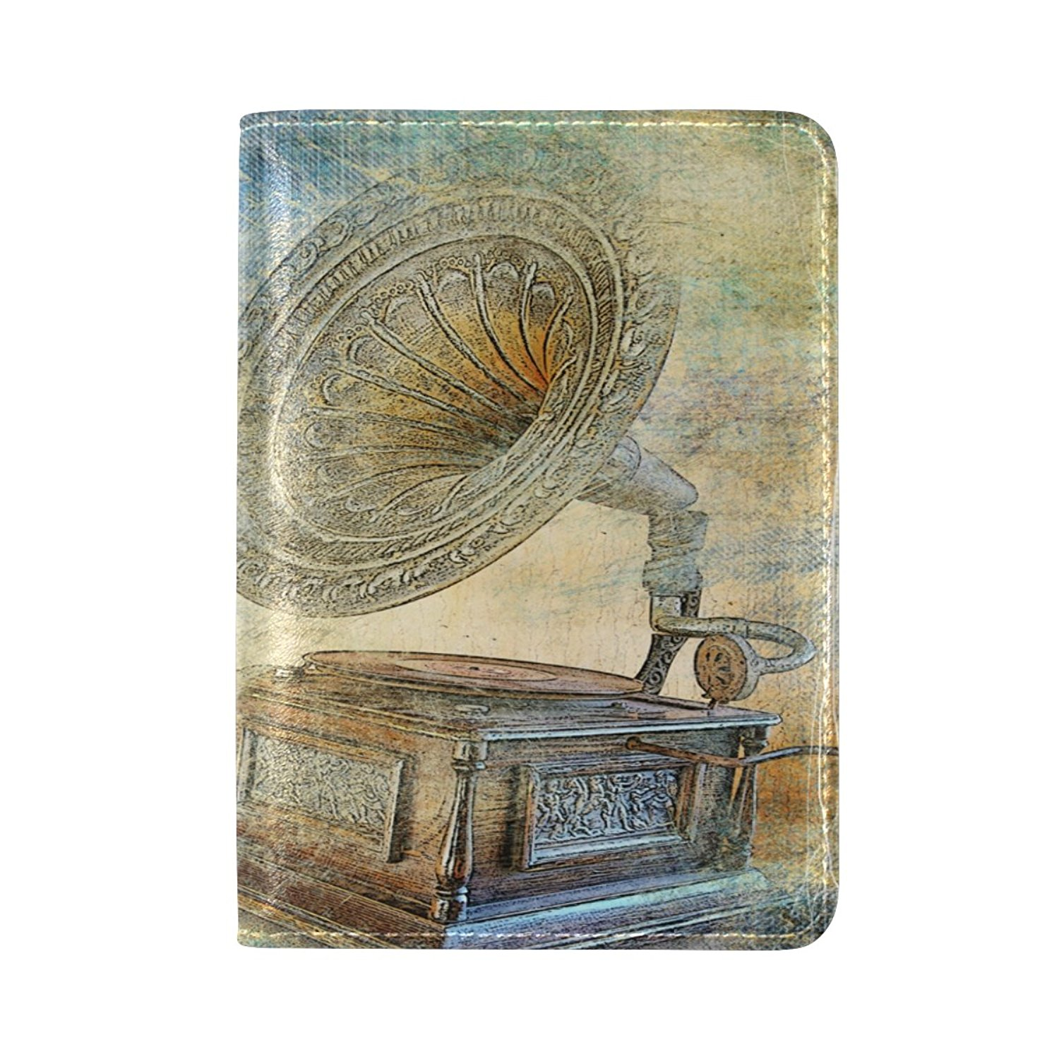 Sunlome Vintage Gramophone Pattern Leather Passport Holder Cover Travel Wallet Case