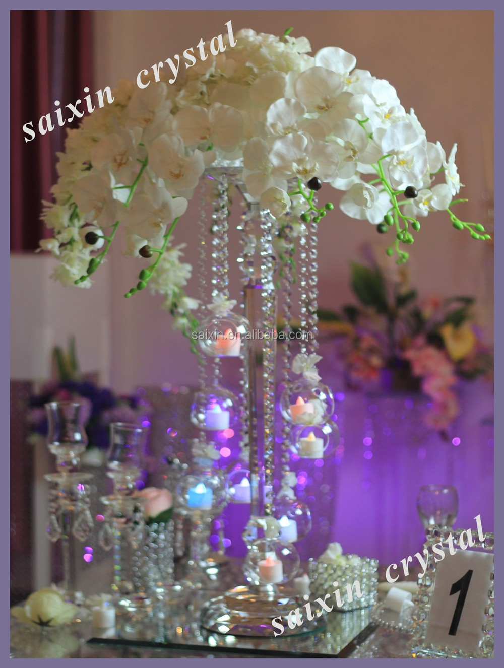 Gorgeous wedding flower stand centerpiece with hanging for Buy wedding centerpieces