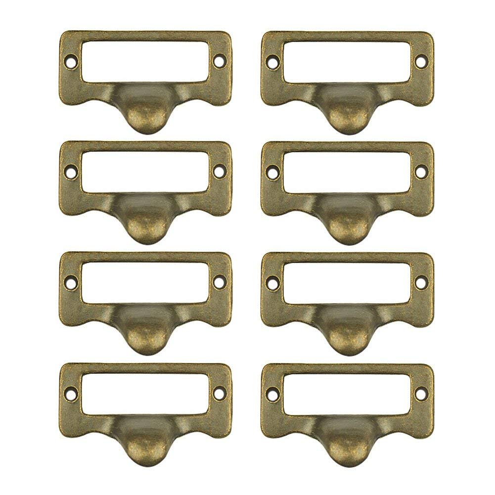 "Welldoit 8 Piece Antique Cabinet Drawer Label Pull Frame Handle File Name Card Holder Handle,Bronze (57x32x16mm/2.24""x1.25""x0.62"")"