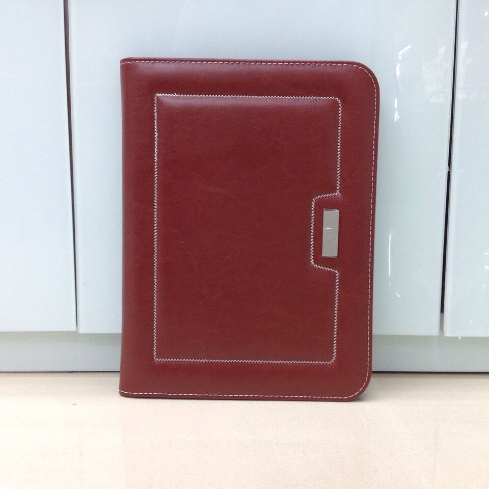Leather document file folder with card holder